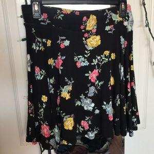 Black floral print skater skirt